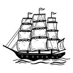 Illustration of vintage sea ship. Design element for poster, card, emblem, sign, banner.