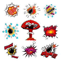 Set of comic style bombs, dynamite, explosions. Design element for poster, card, emblem, print, flyer, banner.