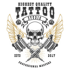 Tattoo studio poster template. Winged skull with crossed tattoo machines. Design element for logo, label, emblem, sign, poster.