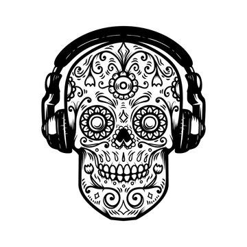Sugar skull with headphones. Design element for poster, card, print, emblem, sign. Vector image