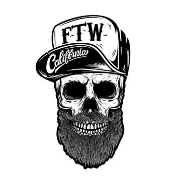 Hipster skull in baseball cap with lettering california, forever two wheels. Design element for logo, label, emblem, sign.