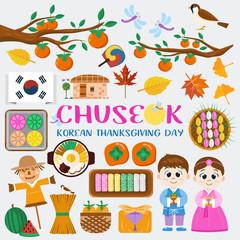 Flat design icons, Chuseok, Korean Mid autumn festival symbols. Illustration of traditional food, costume and autumn leaves.