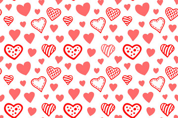 Beautiful seamless pattern with various red hearts on white background