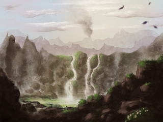 Digital Painting of a mountainscape with rocks and waterfall