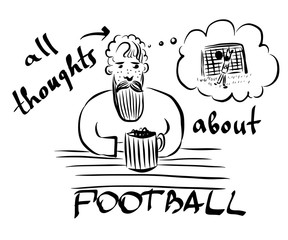 picture of a bearded mustachioed man with a beer mug sits in a bar and remembers a football match, sketch, hand-drawn vector illustration