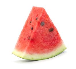 Wall Mural - single slice of ripe red watermelon slice isolated on white background