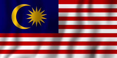 Malaysia realistic waving flag vector illustration. National country background symbol. Independence day