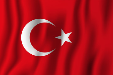 Turkey realistic waving flag vector illustration. National country background symbol. Independence day