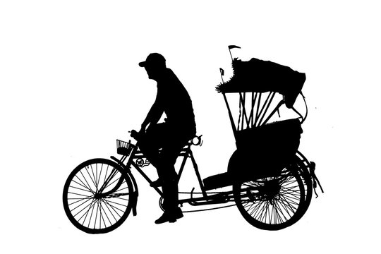 silhouette old man ride Tricycle on white background