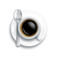 coffee cup spoon isolated vector