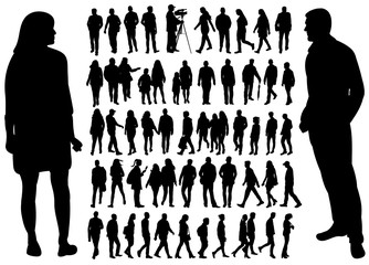 vector, isolated silhouette of walking people set