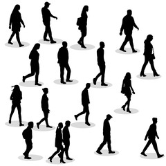 silhouette of walking people set