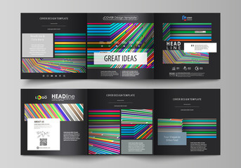 Set of business templates for tri fold square design brochures. Leaflet cover, abstract vector layout. Bright color lines, colorful style with geometric shapes forming beautiful minimalist background.