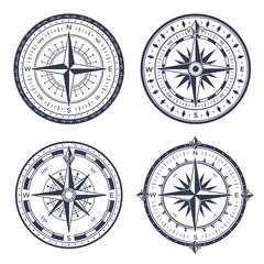 Vintage sea compass. Retro east and west, north and south arrows. Navigation compasses with rose of wind isolated vector set