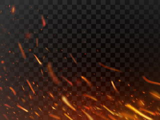 Close-up hot fiery sparkles and flame particles isolated. Inferno fire sparks and flaming flakes dark vector background