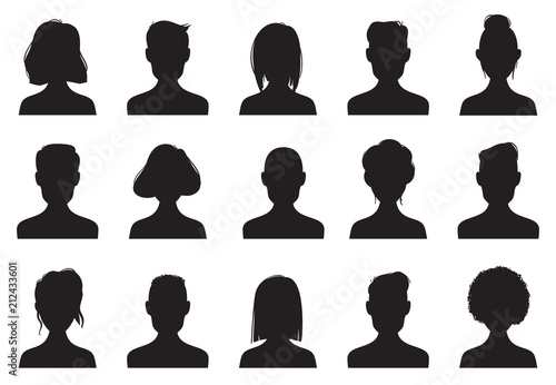 Profile icons silhouettes  Anonymous people face silhouette