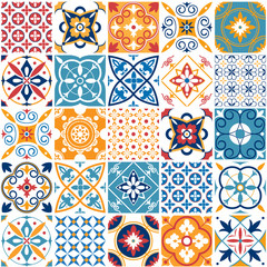 Portugal seamless pattern. Vintage mediterranean ceramic tile texture. Geometric tiles patterns and wall print textures vector set