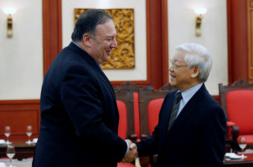 U.S. Secretary of State Mike Pompeo meets Vietnam's Communist Party General Secretary Nguyen Phu Trong at the Party's head office in Hanoi,