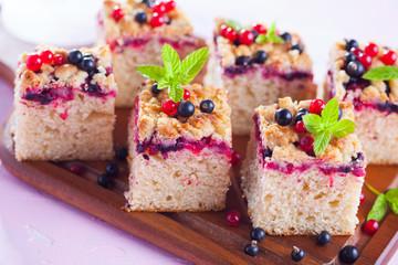 tasty summer fruits yeast cake