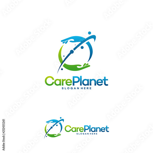 care planet logo designs vector care place logo template stock