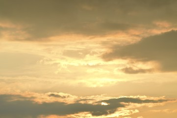 Sky with clouds and sunshine - sunset