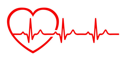 Heart pulse, one line, cardiogram sign, heartbeat - stock vector