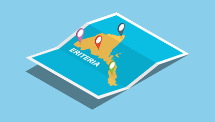 eriteria africa explore maps with isometric style and pin location tag on top