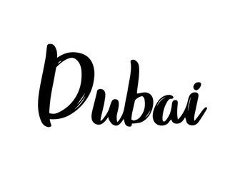 Dubai handwritten calligraphy name of the city. Hand drawn brush calligraphy. City lettering design. Vector Template..