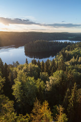 Foto auf Acrylglas Skandinavien Scenic and beautiful view of a lake and forests from Aulanko's observation point in Hämeenlinna, Finland, at morning in the summer.