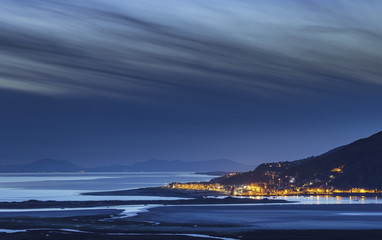 Aerial view over Barmouth Estuary at Night