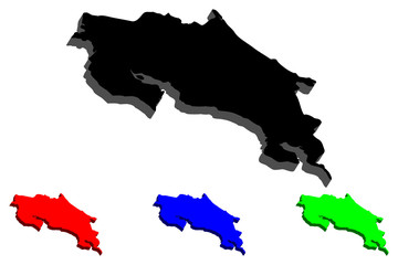 3D map of Costa Rica (Republic of Costa Rica) - black, red, blue and green - vector illustration