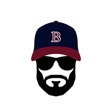 Portrait of Ballplayer man wearing glasses and hat. Mens icon. Vector illustration.