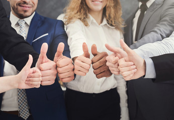 Business people holding many thumbs up