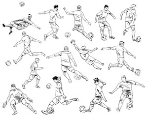 Football players in different poses. Hand drawn sketch. Vector illustration.