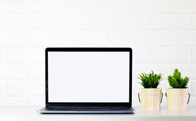 mock up Blank Laptop screen with Green plants on white room brick wall