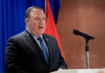 U.S. Secretary of State Mike Pompeo speaks at a Business Community Reception at the Metropole Hotel in Hanoi