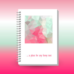 vector cover of diary or notebook with ring spiral binder - format A5 - layout brochure concept - cute pink magenta and mint green colored with  polygonal triangle pattern