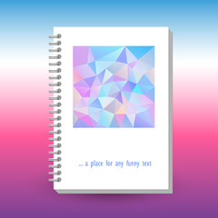 vector cover of diary or notebook with ring spiral binder - format A5 - layout brochure concept - cute holographic unicorn colored with polygonal triangle pattern