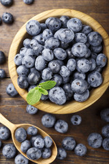 blueberry on a wooden background top view