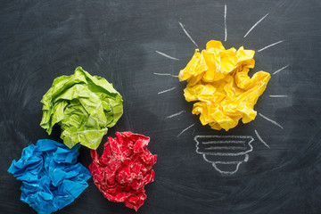Good idea concept crumpled paper ball lightbulb on blackboard