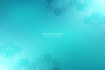 Vector medical background from hexagons. Geometric elements of design for modern communications, medicine, science and digital technology. Hexagon pattern background.
