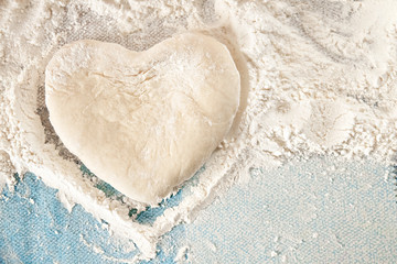 heart made of dough made by hand
