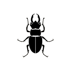 Vector black silhouette beetle