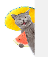 Happy summer cat holding watermelon and peeking above white banner. isolated on white background