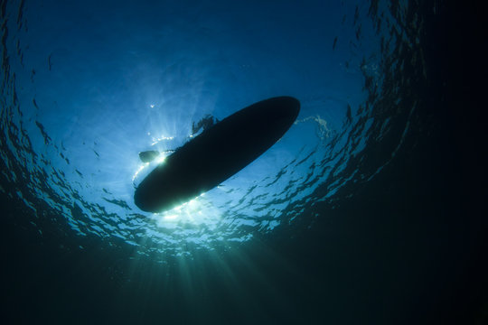 Standup Paddle Board from underwater