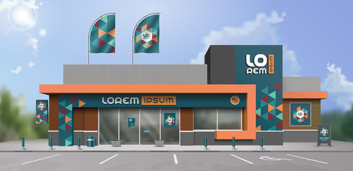 Blue store design with color geometric shapes. Elements of outdoor advertising. Corporate identity