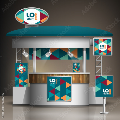 Exhibition Stand Free Vector : Blue exhibition stand design with color geometric elements. booth