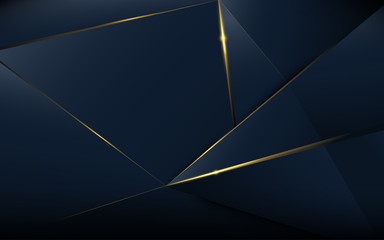 Abstract polygonal pattern luxury dark blue with gold