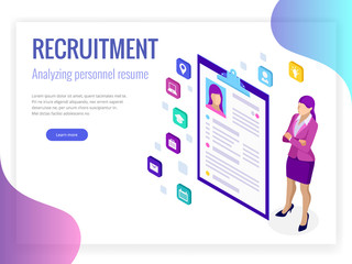 Isometric hiring and recruitment concept for web page, banner, presentation. Job interview, recruitment agency vector illustration