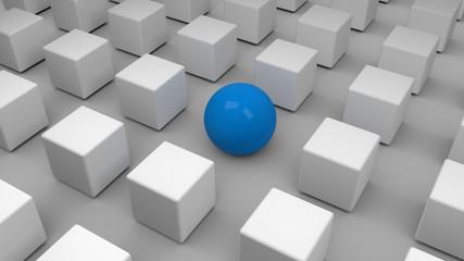 Blaue Kugel umgeben von grauen Würfeln. Symbol für Einzigartigkeit und außergewöhnlich sein.